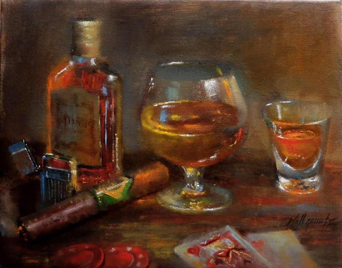Cigar And Whiskey Paintings Purchase Oil Paintings