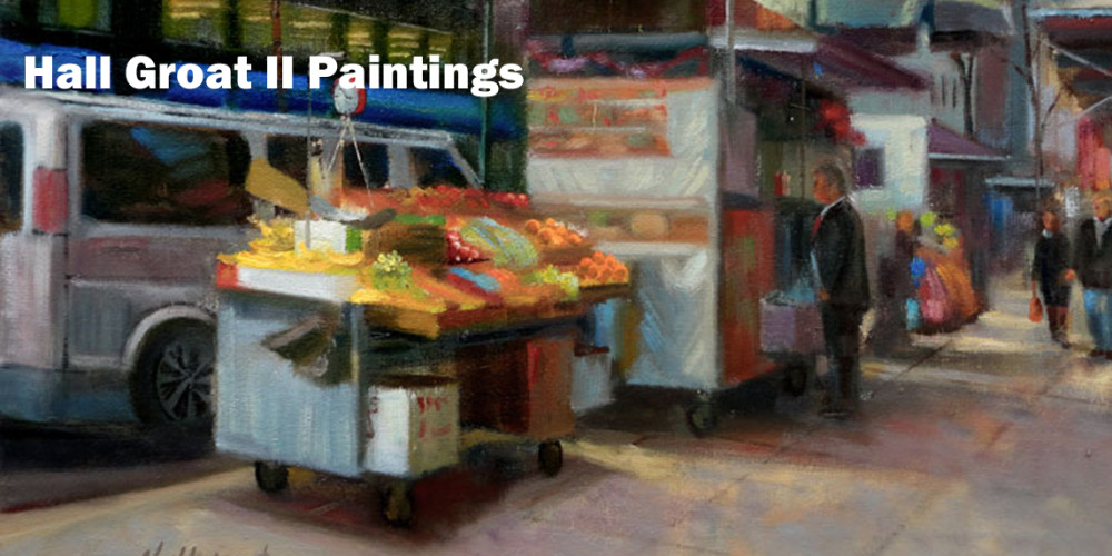 New York City Street Food Vendor Painting 18x24 in.