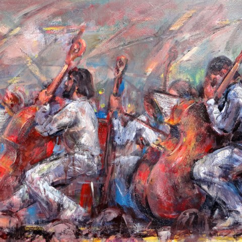 American Tribute 24 x 48 inches Oil on panel by Hall Groat Sr.