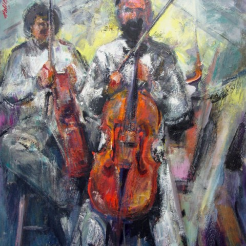 Boston Symphony Cellist 40x30 Acrylic on panel Hall Groat Sr.