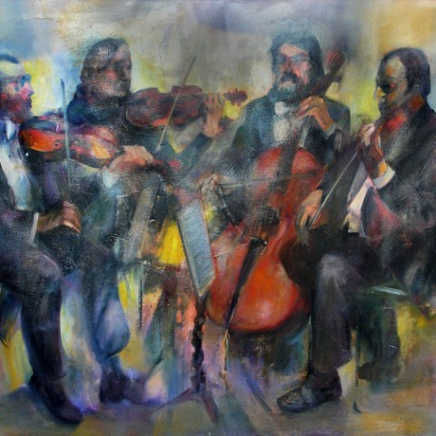 Boston Symphony Quartet 35x47 Original Oil on canvas By Hall Groat Sr.