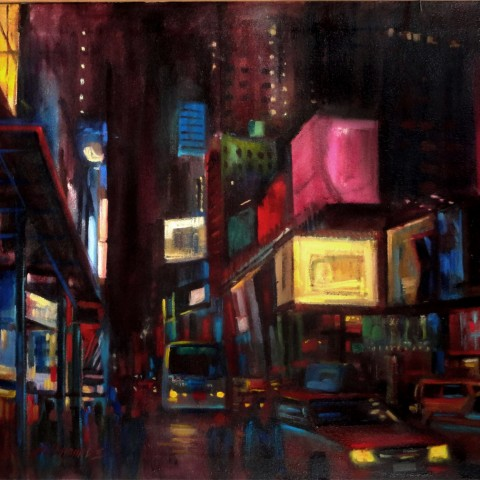 Broadway Avenue, New York City Scene 24 x 36 inches by Hall Groat II