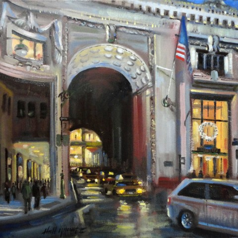 Helmsley Building at Park Ave .New York City  16 x 20 inches Oil on canvas by Hall Groat II