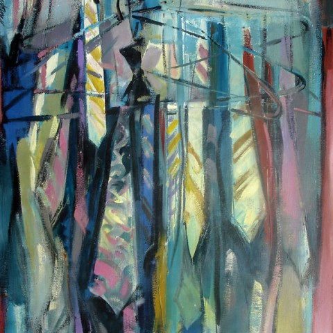 Neckties 48x35 Acrylic on canvas By Hall Groat Sr.