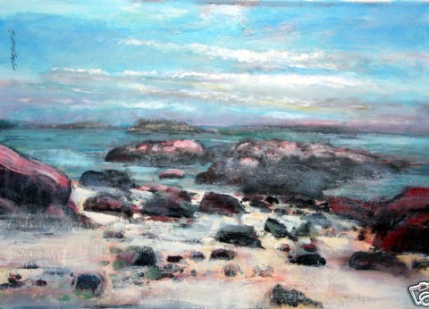 Portland, Maine Ocean Rocks, Marine, High Tide Original Acrylc on panel 30x40 By Hall Groat Sr.