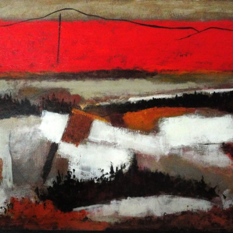 John-Maziarz,-27x40-inches,-The-Mountain,-#6,-acrylic-and-collage,-1988-b