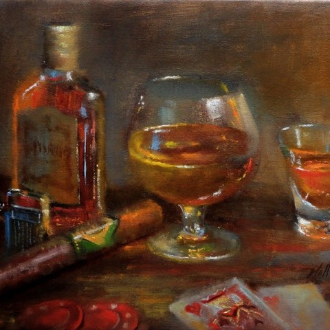 Cigar and Wiskey Painting
