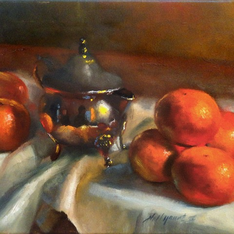 Tangerines with Silver Creamer