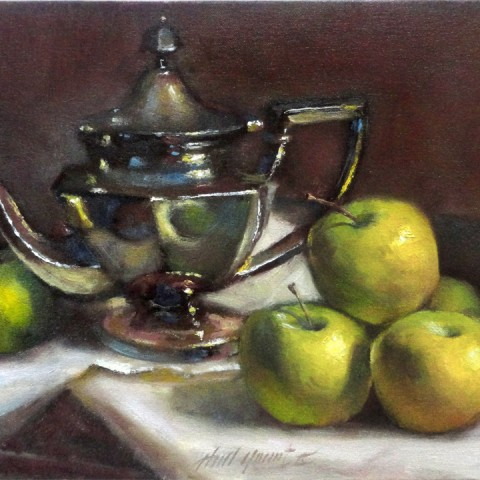 Apples with Sterling Silver Teapot