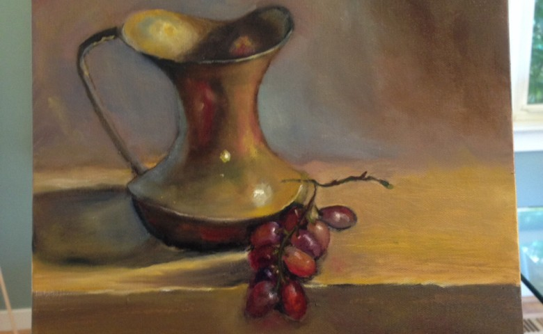 Grapes with Creamer Oil Painting